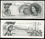 Bank of Jamaica, obverse and reverse archival photograph for an unissued $5, ND (1969), serial numbe