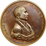 1817 James Monroe Indian Peace Medal. First Size. First Reverse. Julian IP-8, Prucha-41. Bronze. Abo