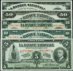 CANADA. Banque Nationale. 5 to 100 Dollars, 2.11.1922. P-S871s to S875s. Specimens. PMG Uncirculated