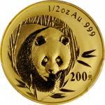 2003年熊猫纪念金币1/2盎司 PCGS MS 69