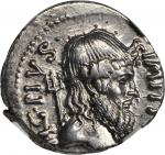 SEXTUS POMPEY. AR Denarius (3.87 gms), Sicilian Mint, ca. 42 B.C. NGC Ch EF, Strike: 4/5 Surface: 4/