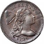 1794年自由帽1分 PCGS MS 65 Liberty Cap Cent