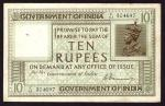 Government of India, 10 rupees, ND (1917-30), serial number C/61 304697, green and brown, bust of Ge