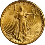 1908-S Saint-Gaudens Double Eagle. MS-66+ (PCGS). CAC.
