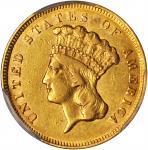 1857-S Three-Dollar Gold Piece. AU Details--Bent (PCGS).