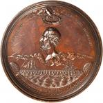 1867 Cyrus Field. Bronzed Copper. 102.6 mm. By William Barber. Julian PE-10. Choice About Uncirculat