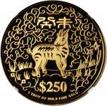 新加坡。2003年250元,生肖系列,羊年。