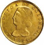 COLOMBIA. 8 Escudos, 1824-FM. Popayan Mint. PCGS AU-55 Gold Shield.