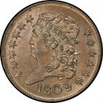 1809/6 Classic Head Half Cent. Cohen-5, Breen-5. Rarity-1. 9 over inverted 9. Mint State-65 BN (PCGS