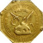 1851 Augustus Humbert $50. Reeded Edge. K-5. Rarity-5-. 880 THOUS., Target Reverse. EF-45 (NGC).