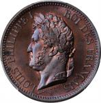 FRENCH COLONIES. 5 Centimes, 1839-A. Paris Mint. Louis Philippe I. PCGS MS-65+ Red Brown Gold Shield