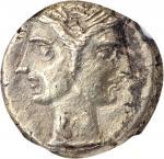 ITALY. Bruttium. Carthaginian occupation. EL 3/8 Shekel (3.12 gms), ca. 216-211 B.C. NGC AU, Strike: