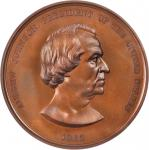 1865 Andrew Johnson Indian Peace Medal. Bronze. 76 mm. Julian IP-40. MS-64BN (NGC).