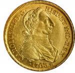 COLOMBIA. 8 Escudos, 1763-NR JV. Nuevo Reino Mint. Charles III. NGC MS-62.