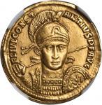 CONSTANTIUS II, A.D. 337-361. AV Solidus (4.41 gms), Rome Mint, ca. A.D. 355-357. NGC Ch EF, Strike: