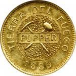 ARGENTINA. Tierra del Fuego. 5 Gramos, 1889. Buenos Aires Mint. NGC AU-58.