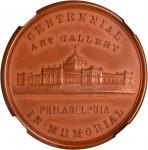 1876 U.S. Centennial Exhibition. Exhibition Building Dollar--Art Gallery. Red Gutta-Percha. 38 mm. H