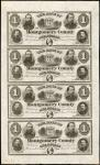 Uncut Sheet of (4) Norristown, Pennsylvania. Bank of Montgomery County. $1-$1-$1-$1. Jan. 2, 1865. U