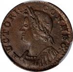 1786 Connecticut Copper. Miller 5.4-G, W-2580. Rarity-2. Mailed Bust Left. AU-55 (PCGS).