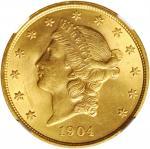 1904年自由帽双鹰 NGC MS 64 1904 Liberty Head Double Eagle