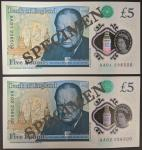 Bank of England, Victoria Cleland, a pair of 」5, prefixes AA01, AA02, same serial number 236500, (EP