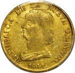 COLOMBIA.1841-RU 16 Pesos. Popayán mint. Restrepo M212.10. AU-53 (PCGS).