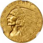 1911-D Indian Quarter Eagle. Strong D. MS-63 (NGC).