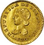 COLOMBIA. 1824-FM Escudo. Popayán mint. Restrepo 162.3. AU-58 (PCGS).