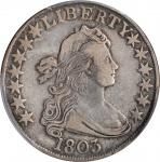 1803 Draped Bust Half Dollar. O-101, T-1. Rarity-3. Large 3, 12 Arrows. VF-30 (PCGS). CAC.
