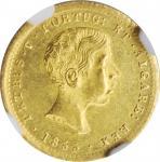 PORTUGAL. 1000 Reis, 1855. Pedro V. NGC AU-58.
