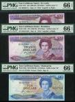 East Caribbean Central Bank, $10, ND (1985-1993), suffix M, Montserrat, blue, $20 (2), ND (1988-1993