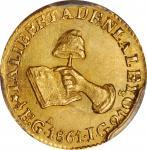 MEXICO. 1/2 Escudo, 1861-Ga JG. Guadalajara Mint. PCGS MS-63 Gold Shield.