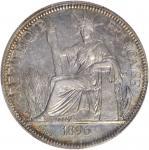 1896-A年坐洋壹圆银币。巴黎铸币厂。 FRENCH INDO-CHINA. Piastre, 1896-A. Paris Mint. PCGS Genuine--Cleaned, AU Detai