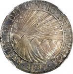 GUATEMALA. 8 Reales, 1842/37-NG MA. Nueva Guatemala Mint, Assayer