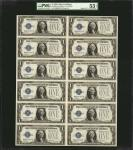 Uncut Sheet of (12) Fr. 1600. 1928 $1 Silver Certificate. PMG About Uncirculated 53 EPQ.