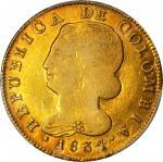 COLOMBIA. 1834/3-UR 8 Escudos. Popayán mint. Restrepo M166.36. VF-35 (PCGS).