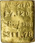 Kellogg & Humbert Gold Ingot No. 249. 17.12 Ounces, 881 Fine, $311.78 Contemporary Value.