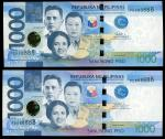 Philippines, a pair of 1000 piso, 2015 and 2017F, identical solid number PD888888, (Pick 211a and 21