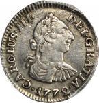 COLOMBIA. 1772-VJ 1/2 Real. Santa Fe de Nuevo Reino (Bogotá) mint. Carlos III (1759-1788). Restrepo
