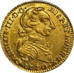 COLOMBIA. 1770-VJ 2 Escudos. Santa Fe de Nuevo Reino (Bogotá) mint. Carlos III (1759-1788). Restrepo