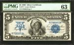 Fr. 271. 1899 $5 Silver Certificate. PMG Choice Uncirculated 63.