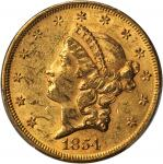 1854 Liberty Head Double Eagle. Breen-7167. Small Date. Repunched Date. AU-58 (PCGS).