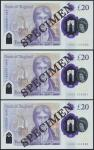 Bank of England, Sarah John, polymer £20, ND (20 February 2020), serial number AA01 000060/61/62, pu