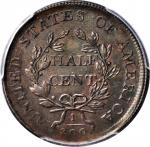 1806 Draped Bust Half Cent. C-4. Rarity-1. Large 6, Stems to Wreath--Broadstruck Out of Collar--AU-5