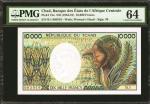 CHAD. Banque des Etate de lAfrique Centrale. 10,000 Francs, ND (1984-91). P-12a. PMG Choice Uncircul