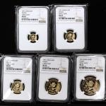 1991年熊猫纪念金币一组5枚 NGC MS