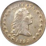 1795 Flowing Hair Silver Dollar. BB-21, B-1. Rarity-2. Two Leaves. AU-53 (PCGS).