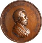 1862 Abraham Lincoln Indian Peace Medal. Large Size. Bronze. 76 mm. Julian IP-38, Cunningham 22-020B
