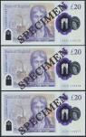 Bank of England, Sarah John, polymer £20, ND (20 February 2020), serial number AA01 000075/76/77, pu