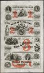 Uncut Sheet of (4) Watertown, Wisconsin. Bank of Watertown. 18xx. $1-$2-$3-$5. Uncirculated. Remaind